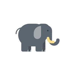 灰色卡通大象矢量logo图标设计