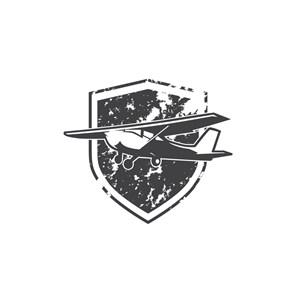 电子机械logo设计--复古黑白飞机logo图标素材下载