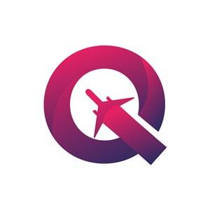 航空公司logo设计--字母Q和飞机logo图标素材下载