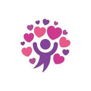 运动休闲logo设计--爱心人形跳舞logo图标素材下载