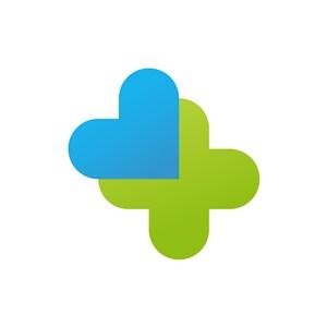 蓝绿四叶草心形矢量logo设计