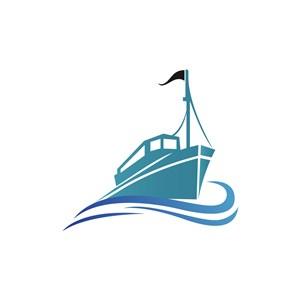 蓝色航运货轮矢量logo图标