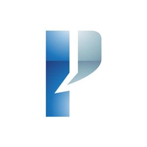 蓝灰色字母P矢量logo图标素材