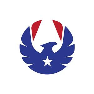 蓝色红色鹰星星矢量logo图标