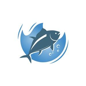 蓝色海鲜鱼餐厅海洋相关矢量logo图标设计