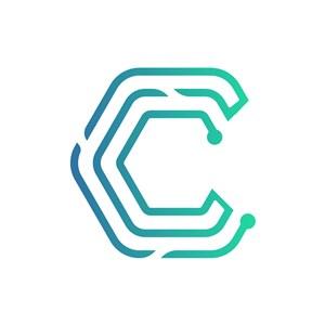 蓝绿渐变字母C线条矢量logo素材
