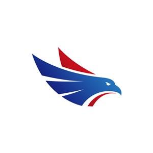 蓝色红色鹰头矢量logo元素
