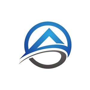 字母A蓝色黑色房子矢量logo图标-2903.svg