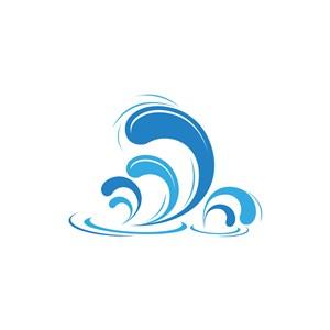 藍色海浪水花海鮮食品矢量logo圖標