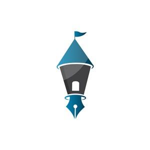 蓝色钢笔创意矢量logo图标设计