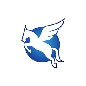 蓝色飞马logo矢量元素设计