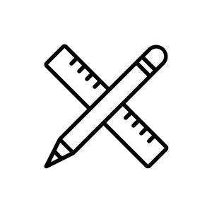 蓝色边铅笔尺子教育相关矢量logo素材