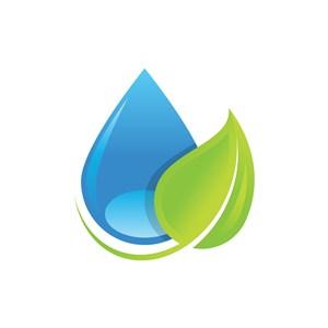 水滴绿叶图案环保相关矢量logo设计素材
