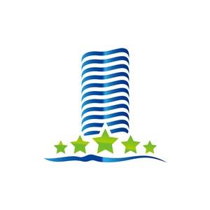蓝绿色五角星建筑大楼矢量logo元素