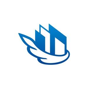 蓝色翅膀建筑矢量logo图标-3299.svg