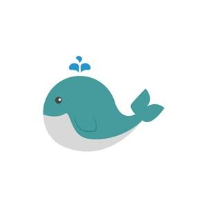 蓝绿色卡通鲸鱼矢量logo图标