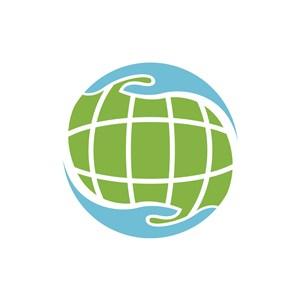 蓝绿色地球矢量logo图标