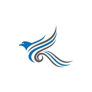 蓝灰色创意飞鹰矢量logo图标素材设计