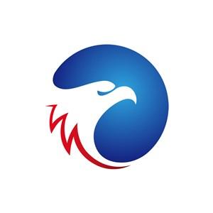 蓝红圆形鹰头矢量logo元素