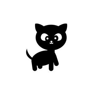卡通可爱小黑猫矢量Logo素材