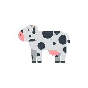 可愛奶牛矢量logo素材圖標