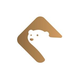 可爱卡通大白熊矢量简约LOGO图标设计