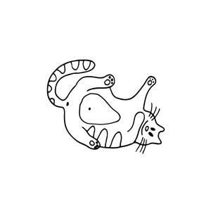 可爱卡通四脚朝天的肥猫Logo图标素材