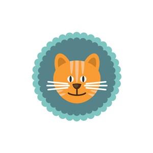 圆形卡通小猫头像矢量图logo素材