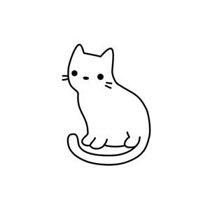 卡通线条小猫矢量Logo图标素材