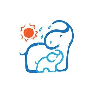 卡通藍色親子大象矢量logo元素