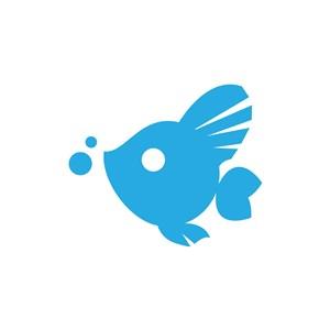 蓝色吐水泡金鱼矢量LOGO图标设计