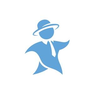 藍色卡通戴帽子的紳士人形矢量logo圖標