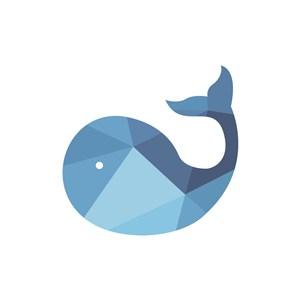 清新蓝色鲸鱼矢量logo图标设计