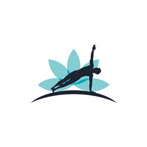 蓝色人物瑜伽健身运动相关矢量logo设计