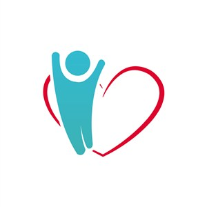 藍色人物愛心形公益相關矢量logo圖標