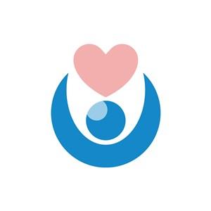 蓝色人物粉色爱心医疗相关矢量logo图标