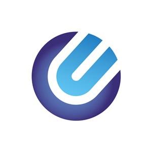 蓝色球形字母U矢量logo图标