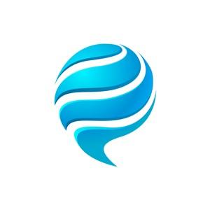 蓝色逗号标志矢量logo图标设计