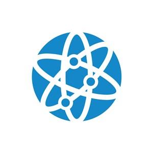蓝色球体环绕轨道矢量logo图标设计