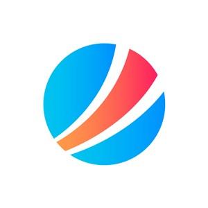 蓝红球体互联网贸易商务相关矢量logo图标