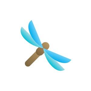 蓝色蜻蜓矢量logo素材设计