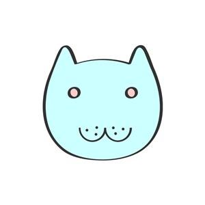 蓝色卡通猫头矢量logo元素