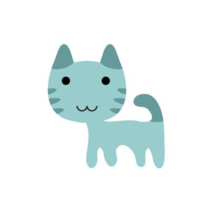 卡通蓝色猫咪矢量logo元素