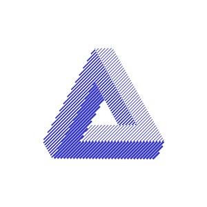 蓝色三角形立体感矢量图形