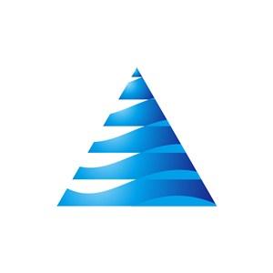 蓝色三角水波纹矢量logo图标