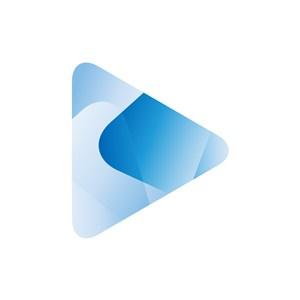 蓝色三角矢量logo图标设计