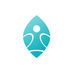 蓝色创意人形矢量logo图标设计
