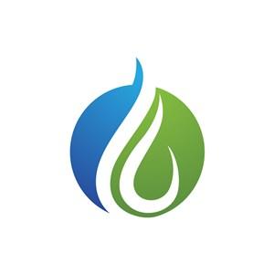 藍色綠色水滴圓形矢量logo圖標