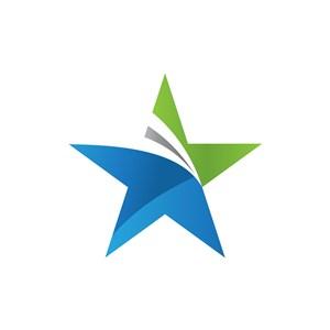 蓝色绿色五角星矢量logo图标