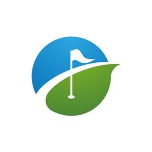 蓝色绿色高尔夫旗帜矢量logo图标